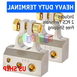2 x Battery Terminal Clamps Positive+Negative Plated Car Aut
