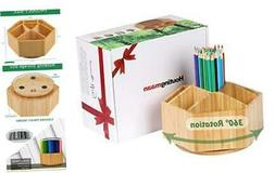 Bamboo Rotating Art Supply Organizer, 7 Sections, Hold 350+