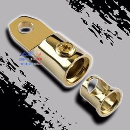 Gold Plated 0/2 AWG Gauge Ring Terminal w/ Adapters Audio 12