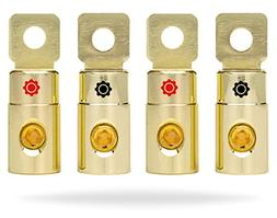 4 Pcs Gold Plated 1/0 AWG Gauge Battery Terminal Connector W