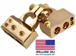 Gold Plated Set of Positive & Negative Battery Terminal Clam