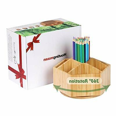 Bamboo Rotating Organizer, 7 Sections, Hold 350+ Pencils,