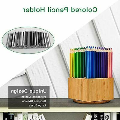 Bamboo Art Supply Organizer, Sections, 350+ Pencils,