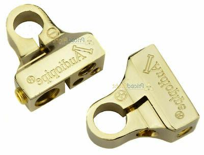 gold positive and negative battery post terminals