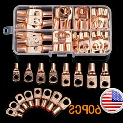US 60pcs Battery Bare Copper Ring Lug Terminals Connector Wi